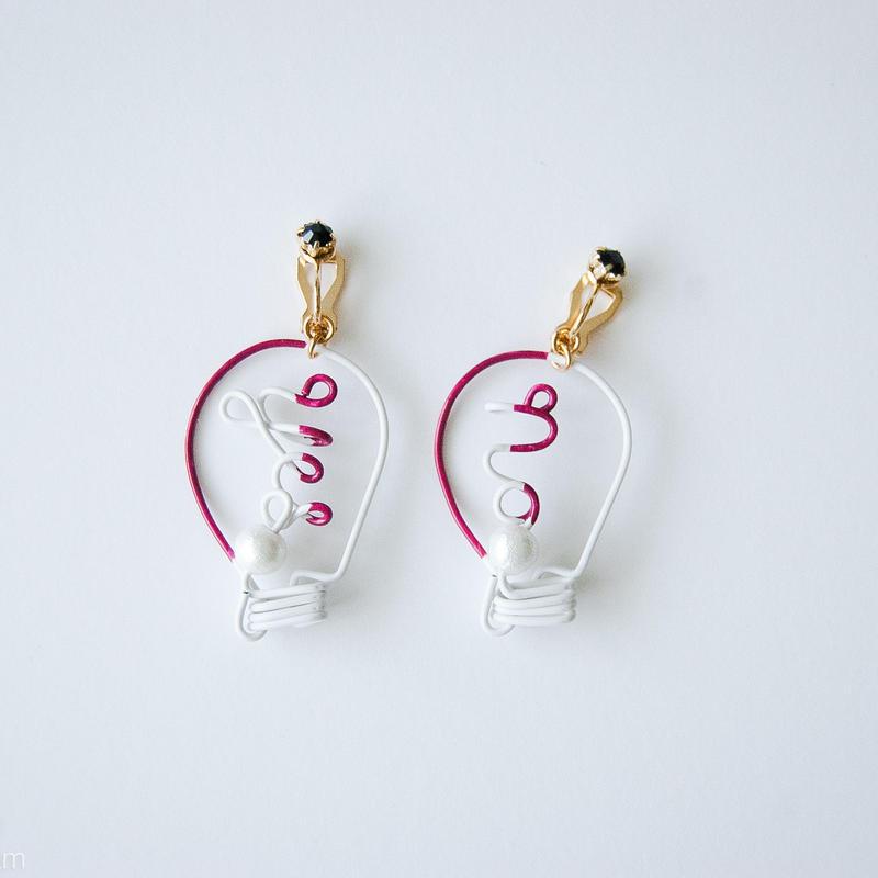 Arty Wire Pierced Earrings  -yes no bulbs  EARRING  / GRAPE RED