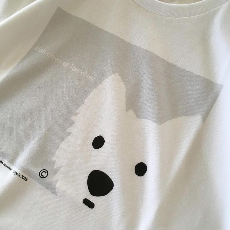 うちの子 Tシャツ白-Y -グレイ / Men's&Ladies