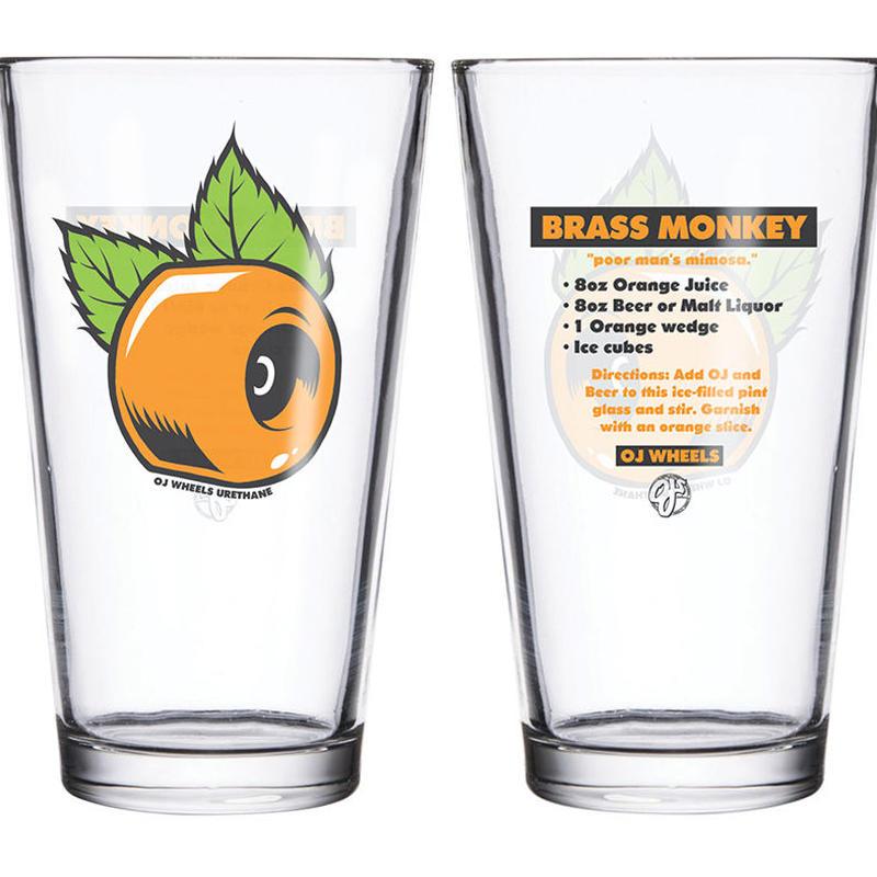 OJ WHEELS BRASS MONKEY PINT GLASS