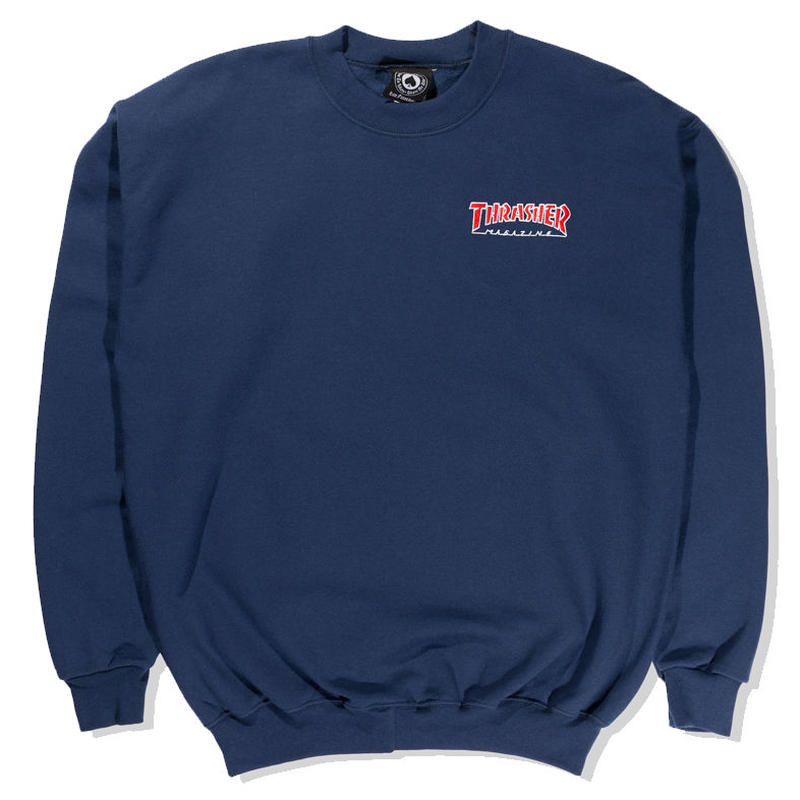 THRASHER EMBROIDERED OUTLINED CREWNECK SWEATSHIRT