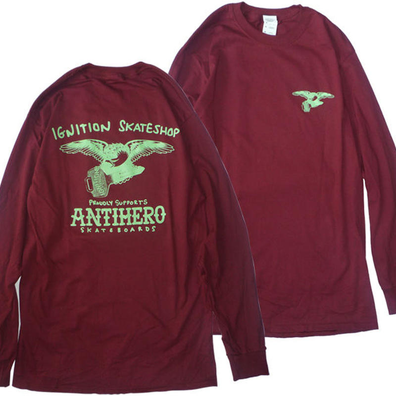 IGNITION SKATESHOP x ANTI HERO  18 SUPPORT L/S TEE HESHDAWGZ限定カラー! BURGUNDY