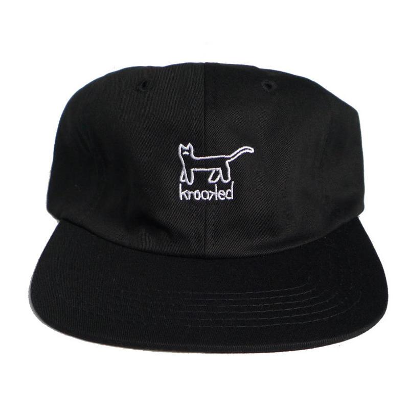 KROOKED KAT EMBROIDERED STRAPBACK CAP BLACK