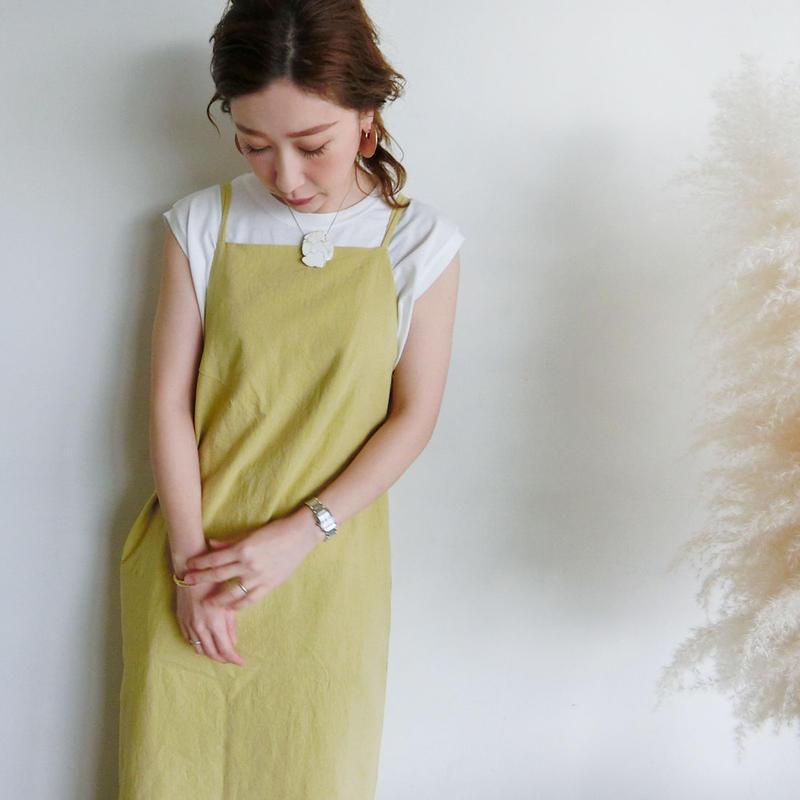 2019ss コットンリネンエプロンワンピース(5月中旬~5月下旬発送予定)