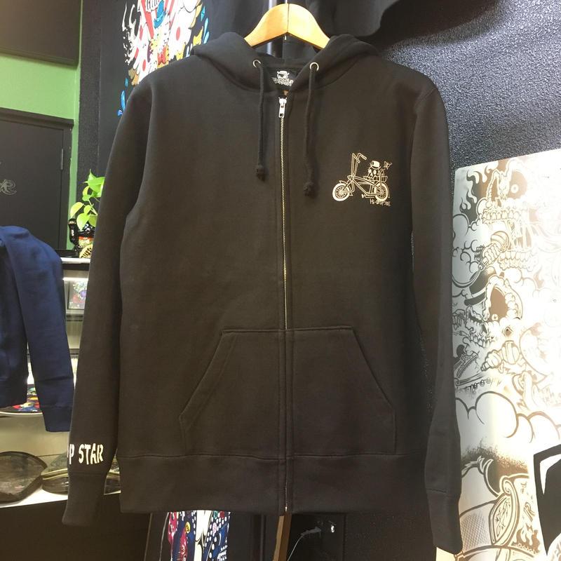 wolf ride full zip hoodie  BLACK