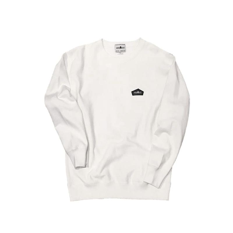 スウェットシャツLOGOワッペン WHITE/L/XL