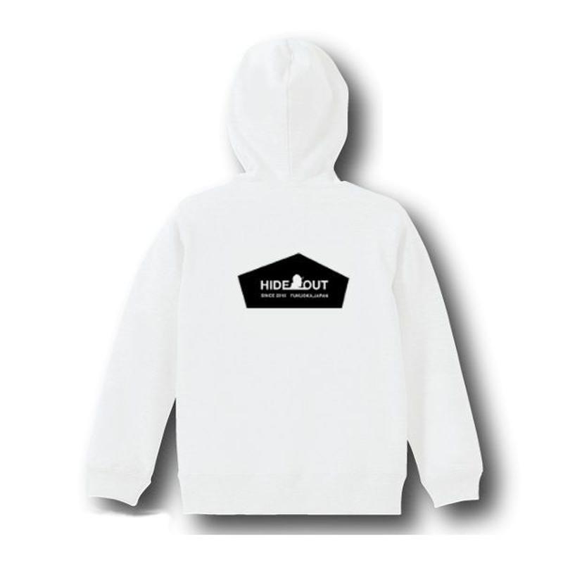 スウェットパーカー「HIDEOUT LOGO」 white/110/130