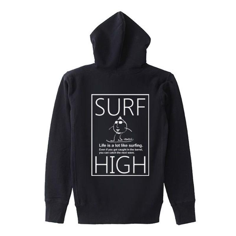 スウェットパーカー「SURF HIGH」black/S/M/L/XL