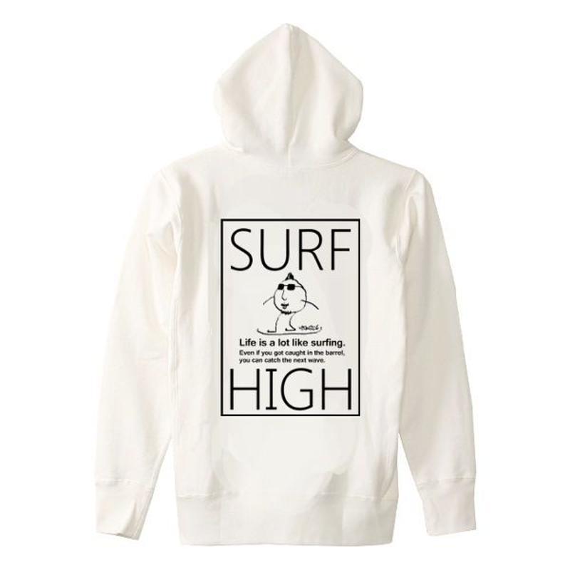 スウェットパーカー「SURF HIGH」 white/S/M/L/XL