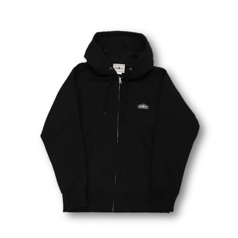 ヘビーオンスZIPUPパーカー BLACK/L/XL