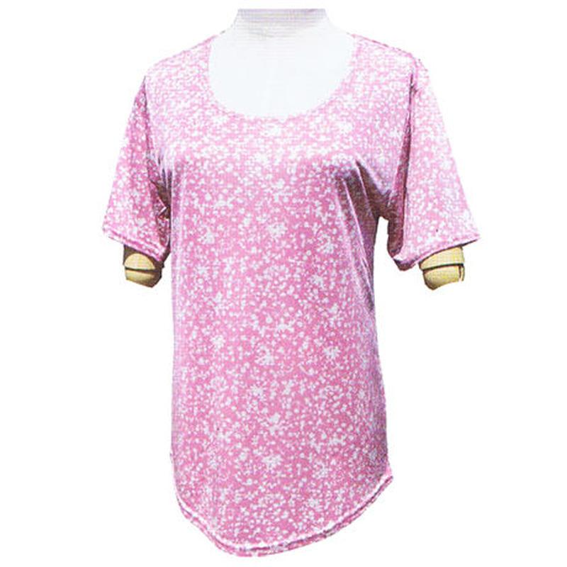 柄物シルク半袖シャツ