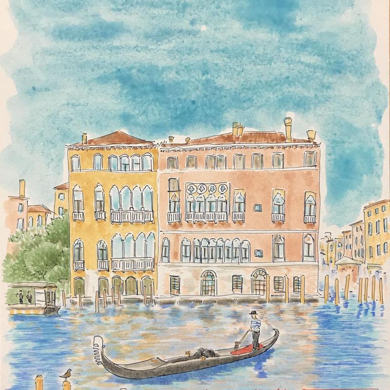 「憩いのヴェネツィア」色紙にテンペラ画