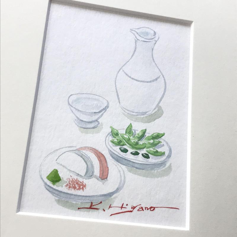 「楽しみの一杯」水彩画