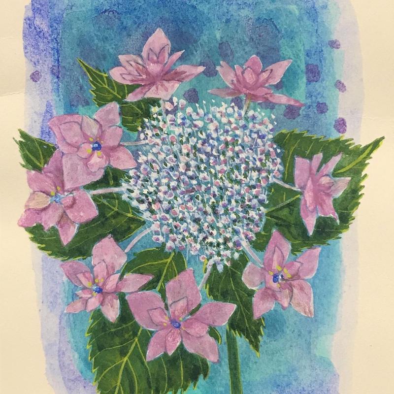 「額紫陽花ーほほえみ」画用紙にテンペラ画