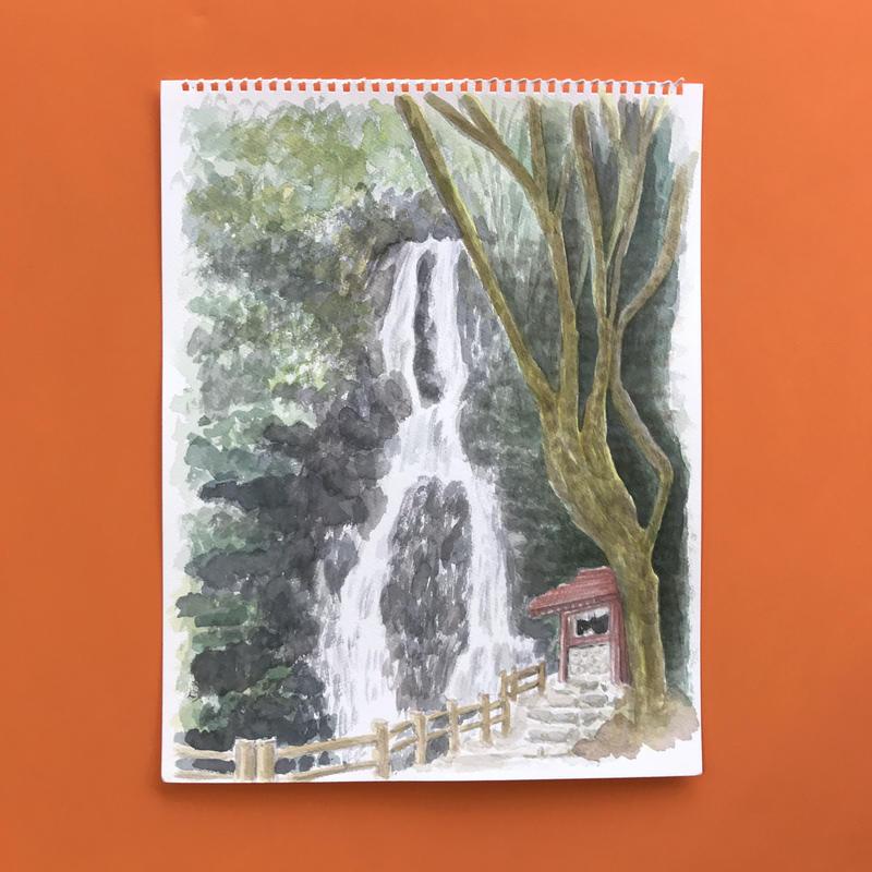 透明水彩画「うきは 調音の滝」フレーム付き