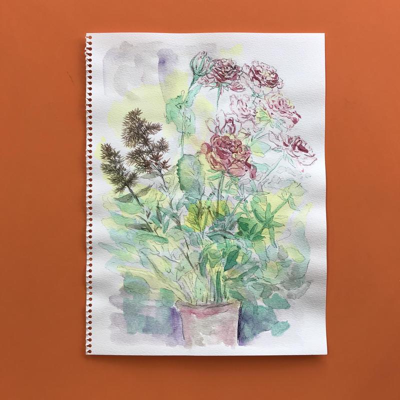 透明水彩画「バラのある静物」フレーム付き