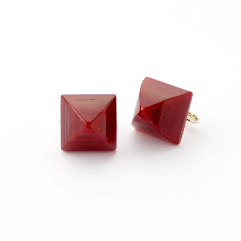 Pyramid Earring(Marble Red)