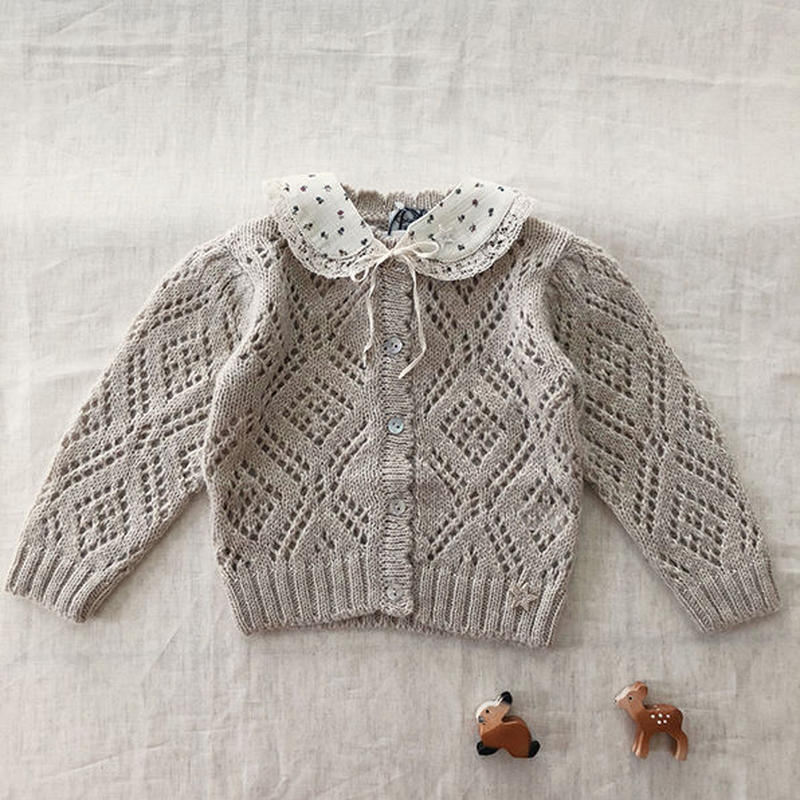 tocoto vintage / GIRL KNITTED JACKET - BEIGE