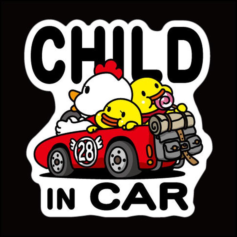 にわとりかあさん(赤) CHILD IN CAR 反射マグネットシート 135mm×142mm