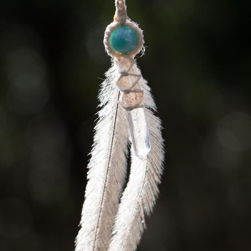 ヒマラヤ水晶∞エミューの羽∞ラリマーピアス