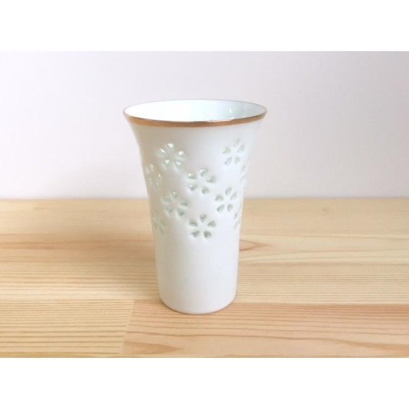 水晶花詰ビールコップ(渕金有り)