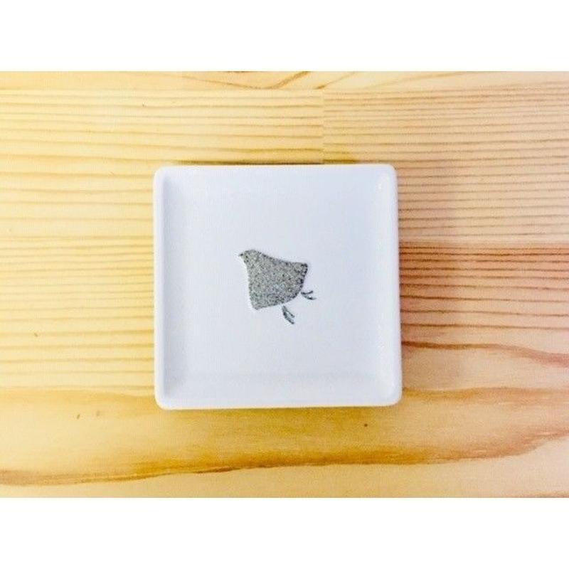 白吹プラチナ千鳥角豆皿