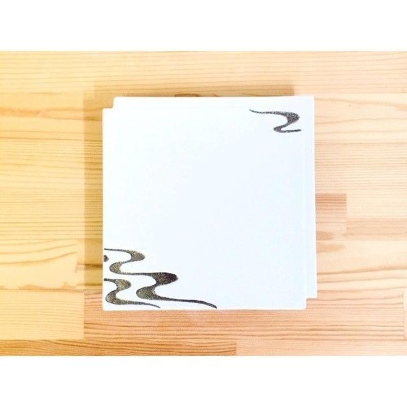 白吹プラチナ流水紋違い角一文字皿