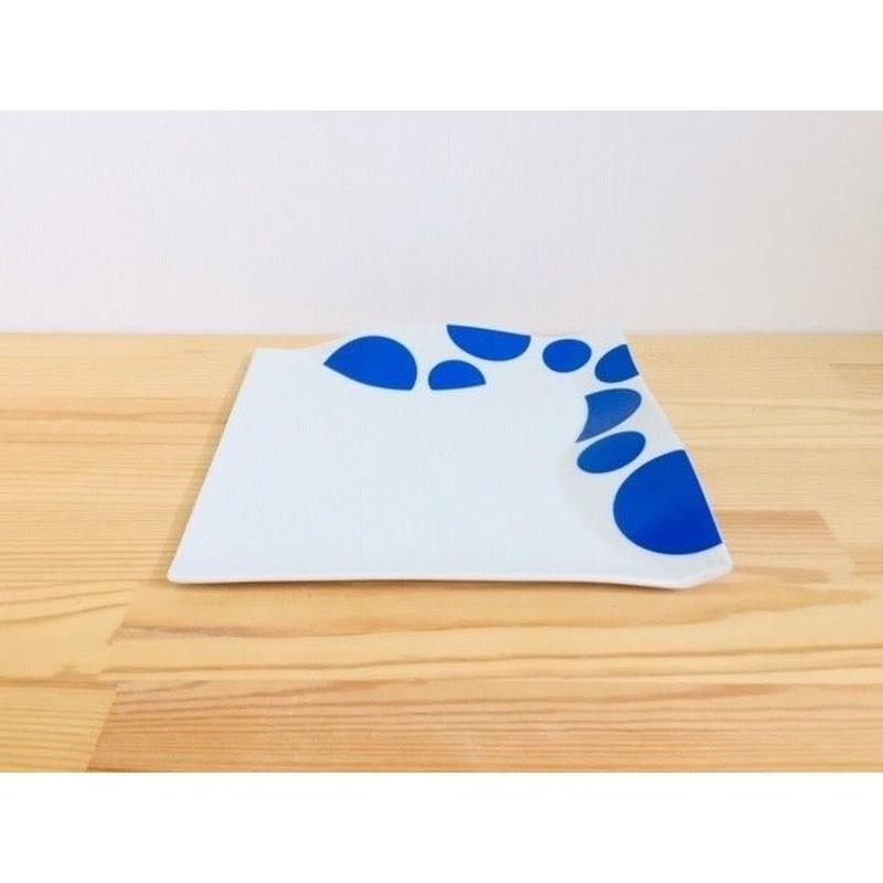 太白青×銀丸紋ウェーブ皿