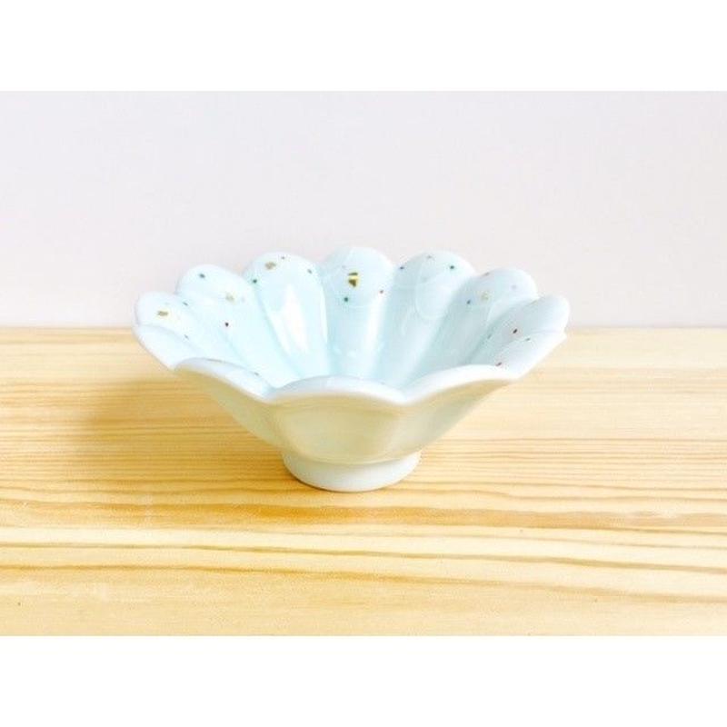 青白磁一珍金彩点紋菊丸小鉢
