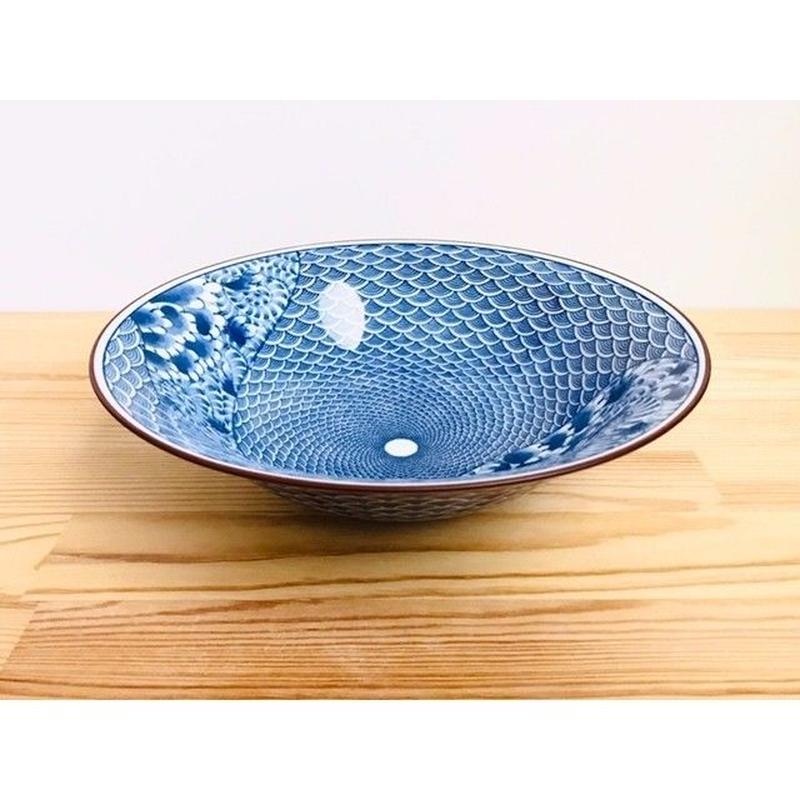青海波紋流水図7寸平鉢
