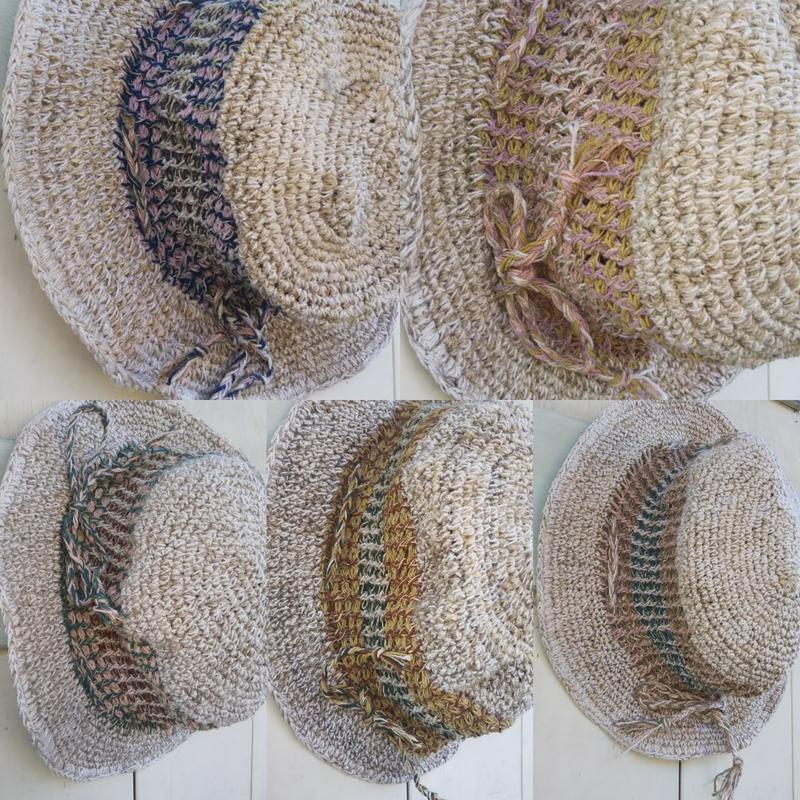 アフガン編みのオーバルハットきなりベースミックスカラー