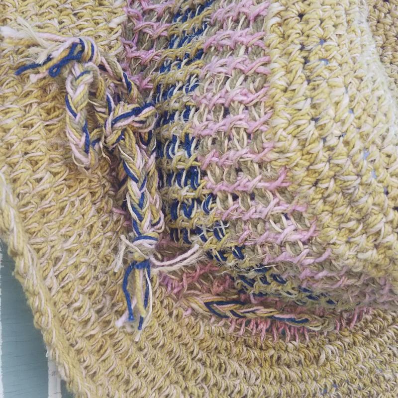 アフガン編みのオーバル型ハット ヘンプコットン