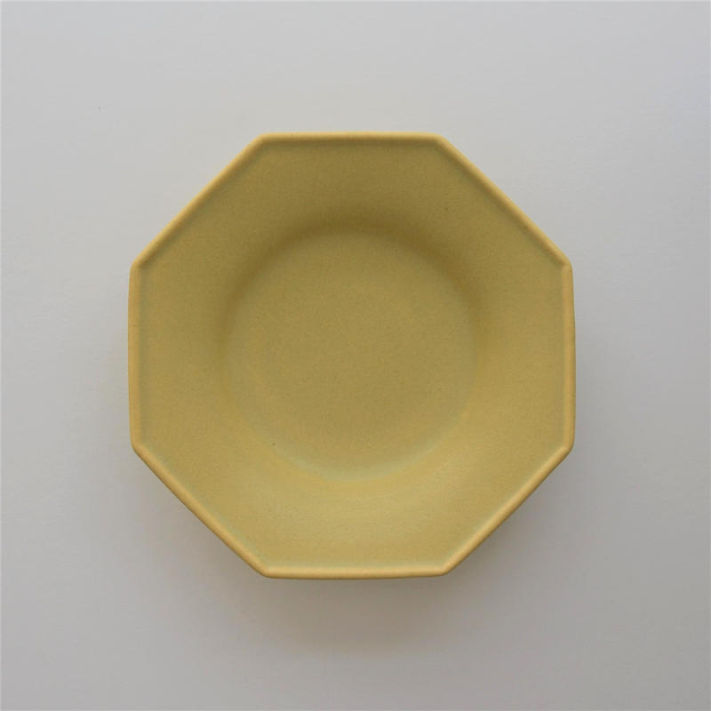 Awabi ware 八角中深皿 黄色