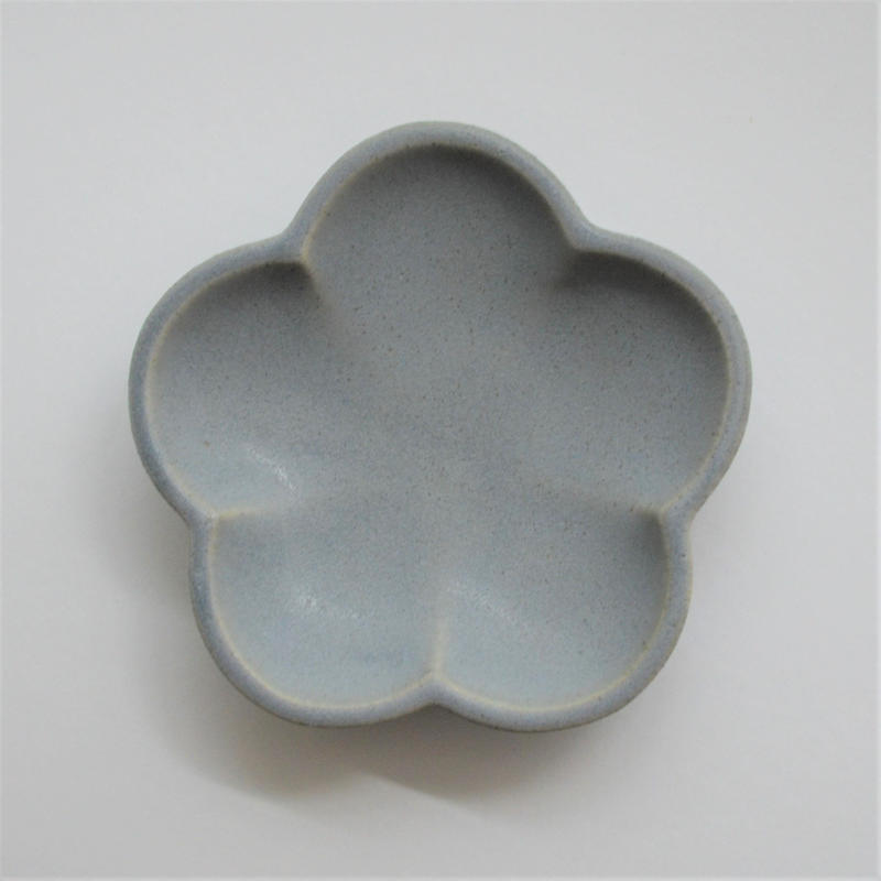 Awabi ware 花型豆皿 青マット