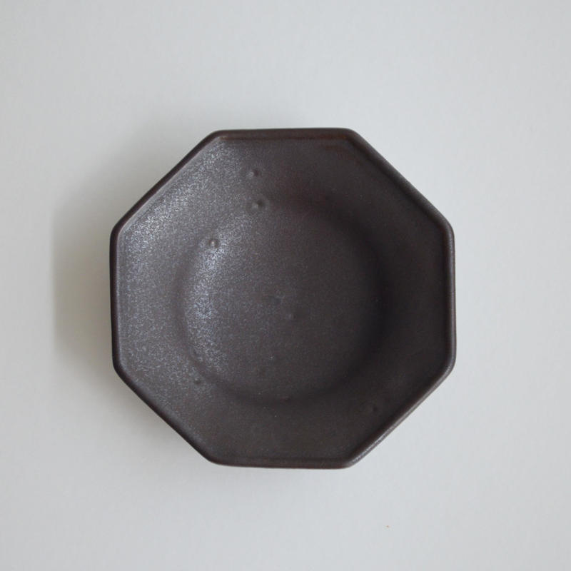 Awabi ware 四方豆皿 黒マット