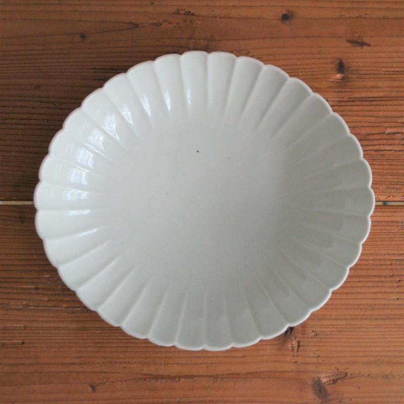 阿部春弥 白磁輪花 楕円大鉢