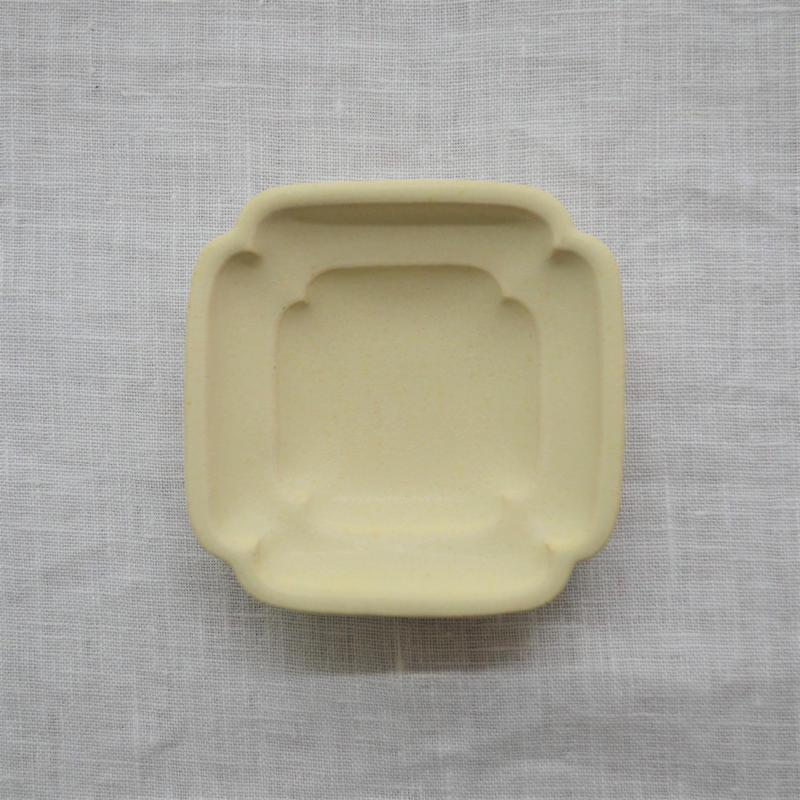 Awabi ware 四方豆皿 アイボリー