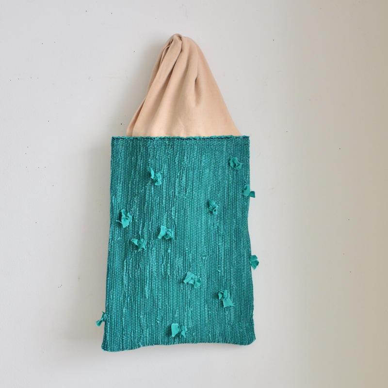 いわもとあきこ バッグ 『 みぎみみ こばな  』 青緑
