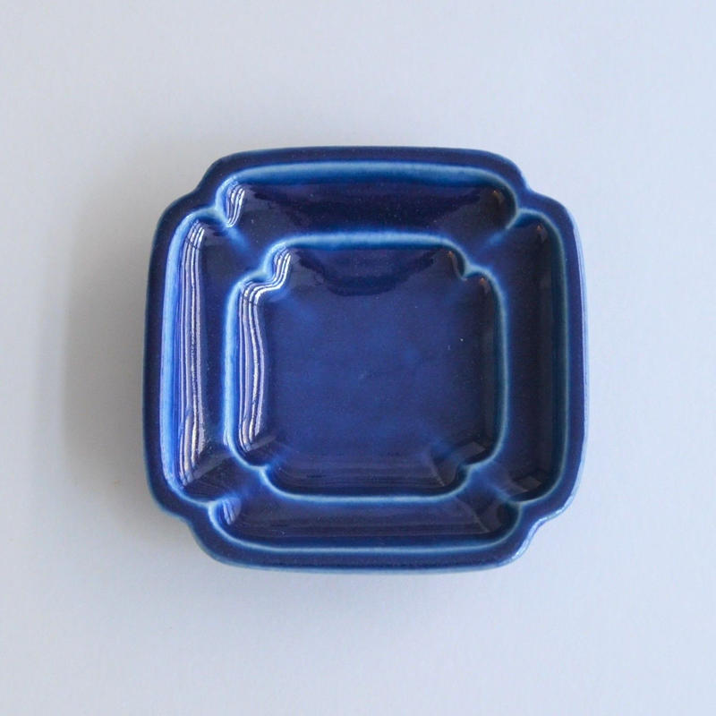 Awabi ware 四方豆皿 瑠璃