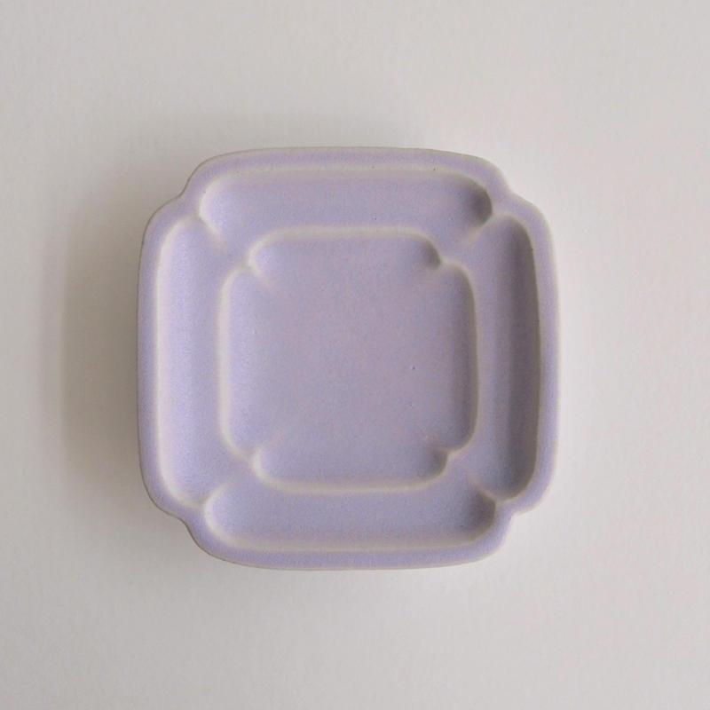 Awabi ware 四方豆皿 パープル