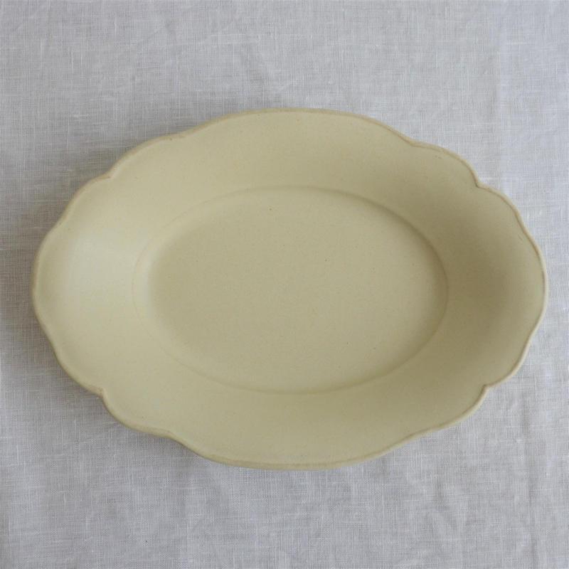 Awabi ware 雲形カレー皿 アイボリー