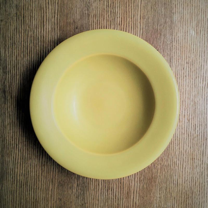 Awabi ware リムスープ皿 黄色