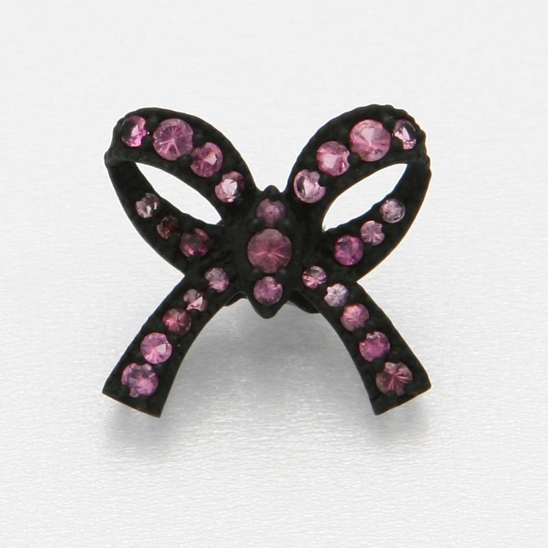 Ribbon Floating Ring Black Matte-Pink