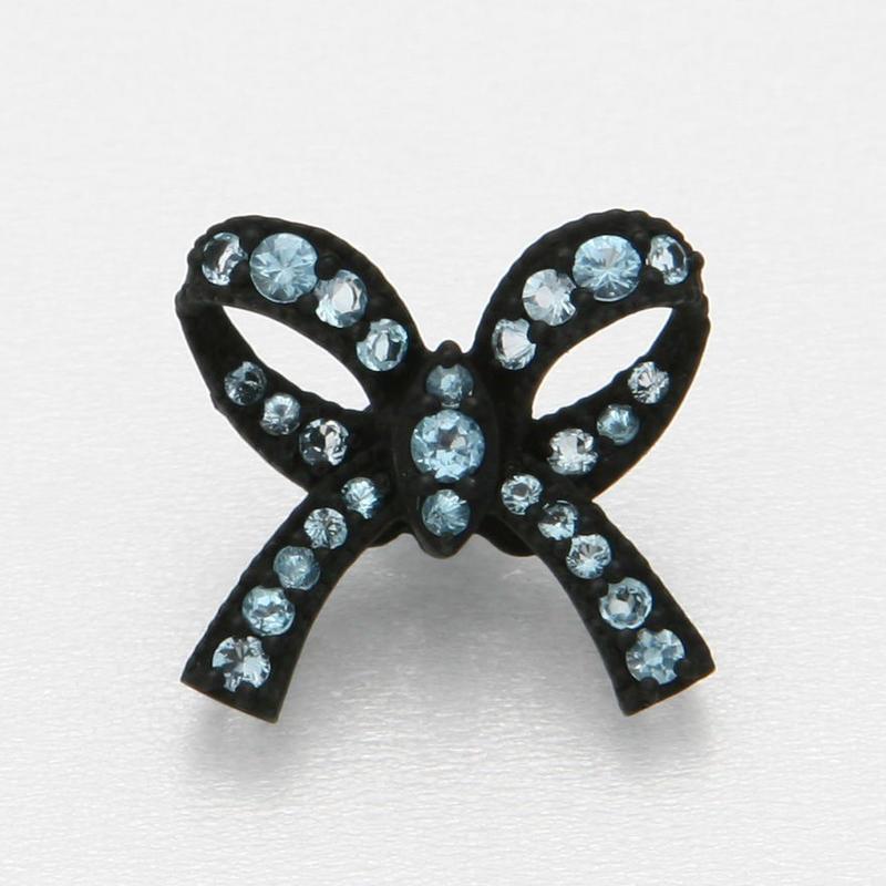 Ribbon Floating Ring Black Matte- Blue