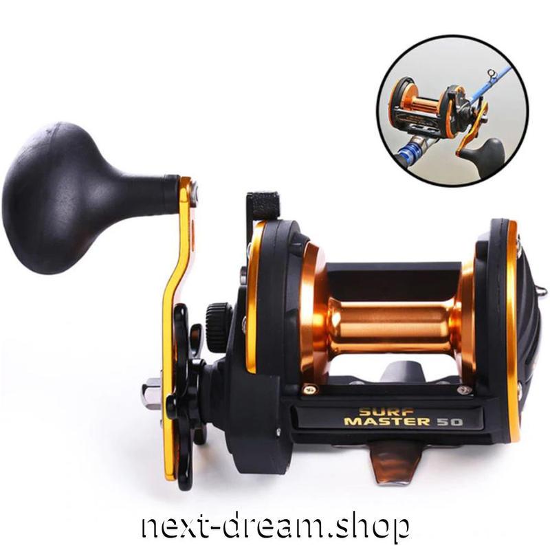新品 ベイトリール 釣り道具 お洒落 フィッシング トローリングドラム  黒×オレンジゴールド 右手 ハンドル m01949