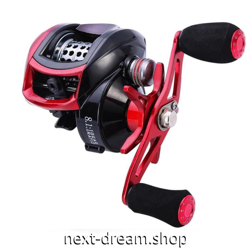 新品 ベイトリール 釣り道具 お洒落 フィッシング  13BB 黒×赤 おしゃれ 右ハンドル 左ハンドル m01951