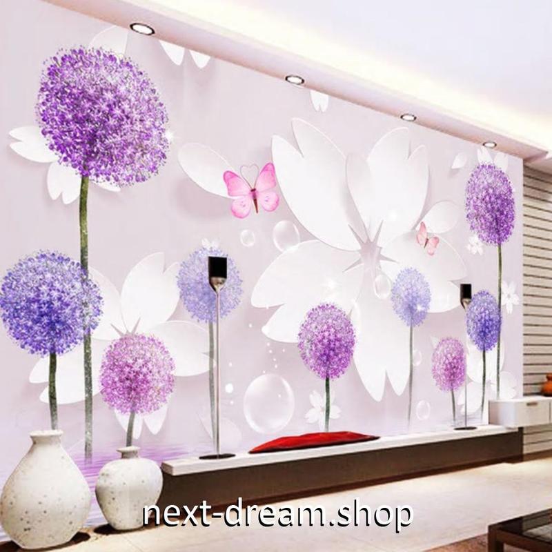 3D 壁紙 1ピース 1㎡ たんぽぽの綿毛 ピンク 花 DIY リフォーム インテリア 部屋 寝室 防湿 防音 h03128