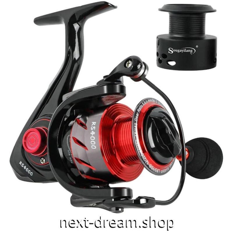 新品 スピニングリール 釣り道具 フィッシング 鯉釣り 黒×メタルレッド 1000 / 2000 / 3000 / 4000 / 5000番 m02023