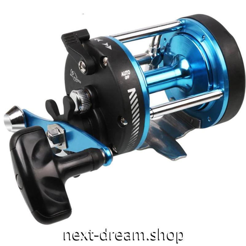 新品 ベイトリール 釣り道具 お洒落 フィッシング ブルーメタル 海水  黒×青 ハンドル m01954