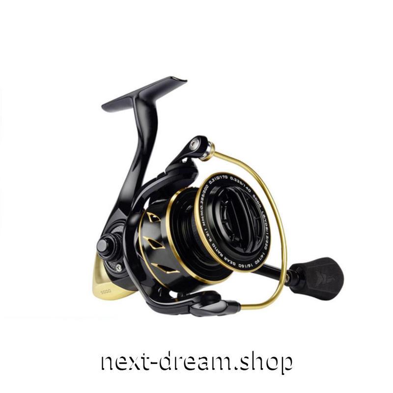 新品 リール 釣り道具 フィッシング 5.2: 1 ギア スピニング 低音 高性能ベアリング 黒×金 1000 / 2000 / 3000 /4000 / 5000番 m01908