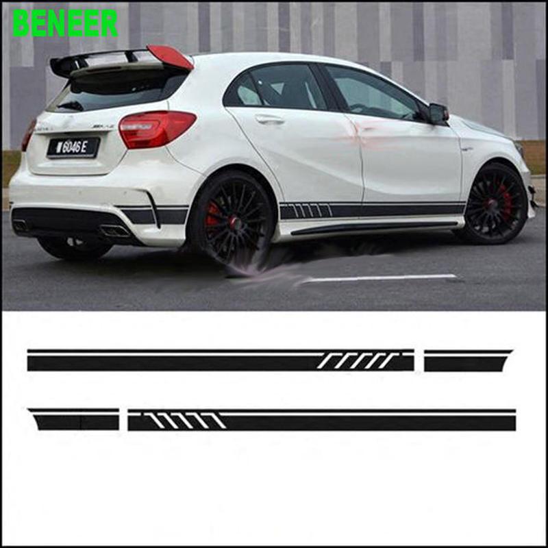 ベンツ ステッカー ボディ サイド 2点セット Mercedes benz AMG W204 W211 W210  h00528